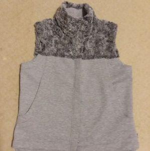 The North Face light gray/fur vest